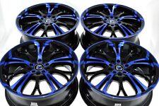 "4 New DDR R25 17x7 5x100/114.3 40mm Black Polished Blue 17"" Wheels Rims"