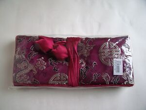 New Satin Jewellery Roll in various colours Red Blue Gold Pink Green or Black