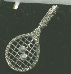 📍Anyone for tennis! SILVER 925 marcasite TENNIS RACKET AND BALL BROOCH PIN 📍