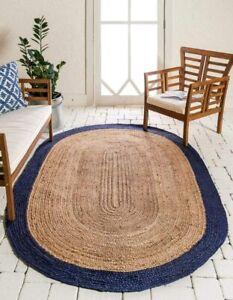 Oval Rug 100% Natural Jute Handmade Rug Modern Reversible Living Carpet Area Rug