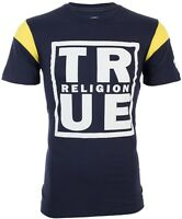 TRUE RELIGION Mens T-Shirt SQUARE FOOTBALL Navy Yellow White Print $79 Jeans NWT
