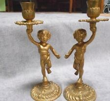 Pair Antique French BRONZE Candlesticks Candle Holders / PUTTI PUTTO