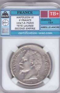 NAPOLEON III 5 FRANCS 1867.A PARIS