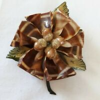 Vintage Celluloid Shell Brooch Pin Green Leaves Brown Seashells Acorn Beachy