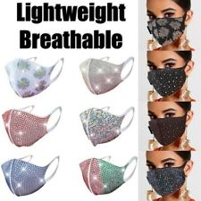 Rhinestone Sparkly Bling Crystal Face Mask Cover Reusable Washable Breathable
