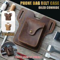 Men's Phone Belt Pack Bag Loop Waist Holster Pouch Case ​Oiled Cowhide Leather