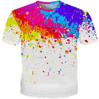 New Fashion Men's Women's Splatter Paint Dot 3D Print Casual T-Shirt Tee