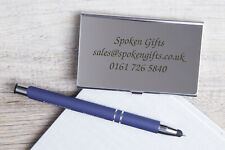 Personalised Metal Business Card Holder Laser Engraved Name Logo Text Company