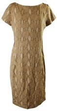 Lauren Ralph Lauren Python Print Ponte Dress Uk Large Tan Mix Bnwt