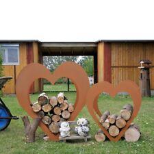 Gartendeko Herz Gartenfigur Edelrost 2 tlg. Set Metall Regal Braun Rost Optik