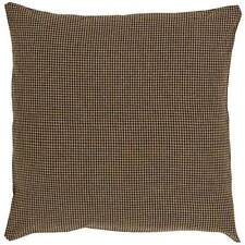 "DELAWARE DECORATIVE ACCENT THROW PILLOW FILLED 16X16"" QUILTED BLACK KHAKI CHECK"
