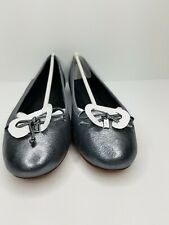 COACH Women's Flatiron Ballet Flats Size 8M Rock Metallic Gunmetal Leather