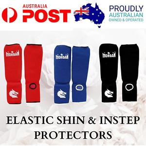 SHIN & INSTEP PROTECTORS -HIGH QUALITY- MMA Kickboxing Muay Thai ELASTIC Guard