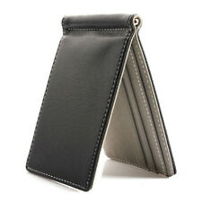 Faux Leather Slim Mens Credit Card Wallet Money Clip Burnished Edges Wallets BG