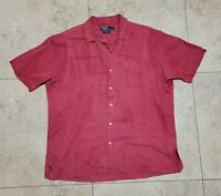 Vintage Polo Ralph Lauren Caldwell Shirt Silk Linen Button RRL Double RL Large