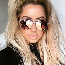 UK NEW Rose Gold Mirrored Reflective Aviator Cat Eye Ladies Sunglasses Retro