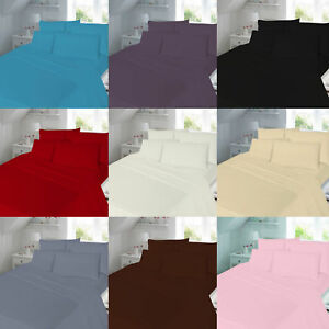 **FREE PILLOW CASE** Luxury Plain Dyed Flat sheets ALL SIZES
