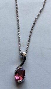 18CT White gold and pink tourmaline pendant