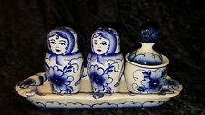 Vintage Russian Gzhel Porcelain Salt Pepper & Mustard Table Set Amazing