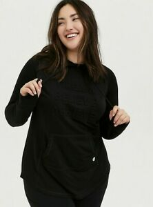 Torrid Women's Plus Dream Believe Achieve Embossed Active Hoodie -  Black - 3 3X