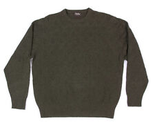 NEIMAN MARCUS Olive Green Brown Diamond Knit Crewneck Mens Sweater Size Large L