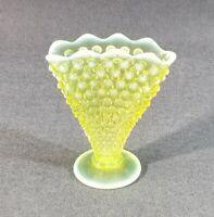 Vintage Fenton Art Glass Topaz Opalescent Hobnail Fan Vase UV Vaseline Glass