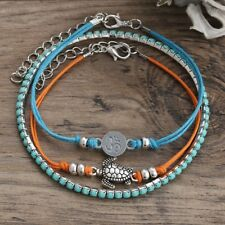 3PCs Set Boho Sea Turtle Turquoise Beads Anklet Beach Foot Sandal Ankle Bracelet