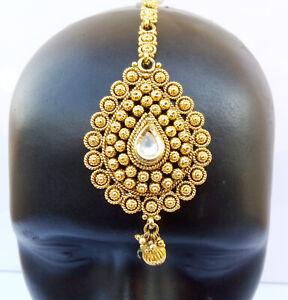 Ethnic Head Accessories Indian Dulhan Manng Tikka Paasa Jewelry Kundan Jhoomar