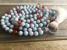 Blue Chalcedony & Carnelian Chakra Yoga Mala ~Prayer Beads 108 Natural Gemstones
