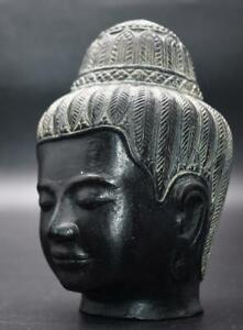 Unusual Antique / Vintage KHMER Cambodia Style Bronze Buddha Head- Fine Detail