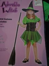 NWT NIP Girls Green Adorable Witch Halloween Costume Size 5 6 7