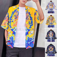 Japanese Mens Baggy 3/4 Sleeve Kimono Retro Cardigan Floral Shirt Top Loungwear