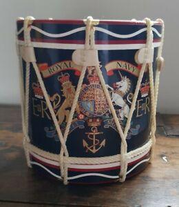 VINTAGE ROYAL NAVY DRUM ICE BUCKET, regimental drum biscuit tin