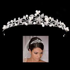 Bridal Tiara Flower Rhinestone Crystal Crown Hairband Pearl Hair Comb Wedding