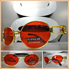 Classy Sophisticated Vintage Retro Style SUN GLASSES Gold Metal Frame Red Lens
