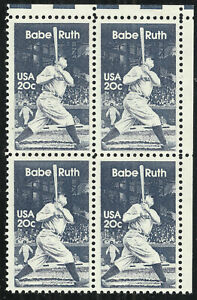 Scott 2046, Babe Ruth 20¢ Block of 4 from 1983 - Mint, Never HInged