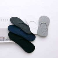 5Pcs Mens Cotton Socks Loafer Boat Non-Slip Invisible Low Cut Casual Solid Color