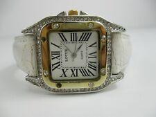 Lotus Women's Roman Numerals Rhinestones White Adjustable Band Analog Watch