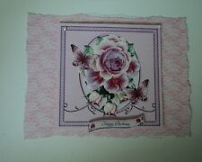 PK 2 PINK ROSE & BUTTERFLY HAPPY BIRTHDAY  EMBELLISHMENT TOPPERS FOR CARDS/CRAFT