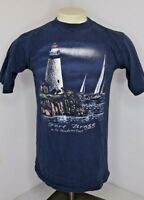 VTG 90s Fort Bragg Mendocino Coast Lighthouse Sailing Vacation T-Shirt USA Sz M