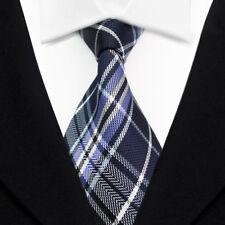 Striped Men's Ties Classic Jacquard Woven Silk Tie Suits Necktie White Blue L108