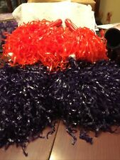 Lot of Cheer Pom Poms 2 Pair - Orange One Set Dark Purple One Set. ( Clemson)