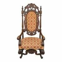 Antique Single Heavily Carved and Upholstered Throne Chair,