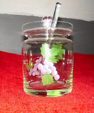 Grapes & Etched Clear Glass Marmalade/Jelly Jar w/Matching Lid & Serving Spoon