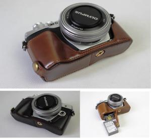 Leather Half Case Bag Grip for Olympus OM-D OMD E-M10 Mark IV Camera / EM10 IV