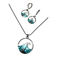 Rhodium Plated Aqua Blue Ocean Wave Enamel Crystal Necklace & Earrings