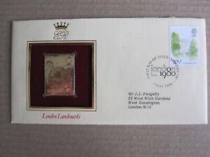 GB - 1980 London Landmarks stamps set +  gold versions on 5 FDCs -