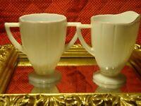 Set (2) Vtg Ribbed MILK GLASS Creamer & 2 Handled Open Sugar Bowl Gold Trim   G7