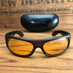 vintage Gucci 1190/S Translucent Rootbeer Brown & Yellow Lens Sunglasses