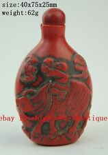 China's artificial red coral pure hand-carved children & cow snuff bottles